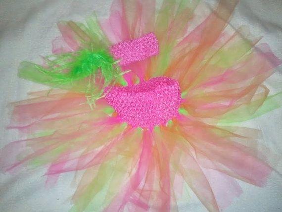 Green Pink and Orange TuTu with matching Hair by RuylesTreasureBox, $12.99