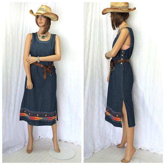 Vintage 80s Santa Fe denim jumper M boho jean dress   80s