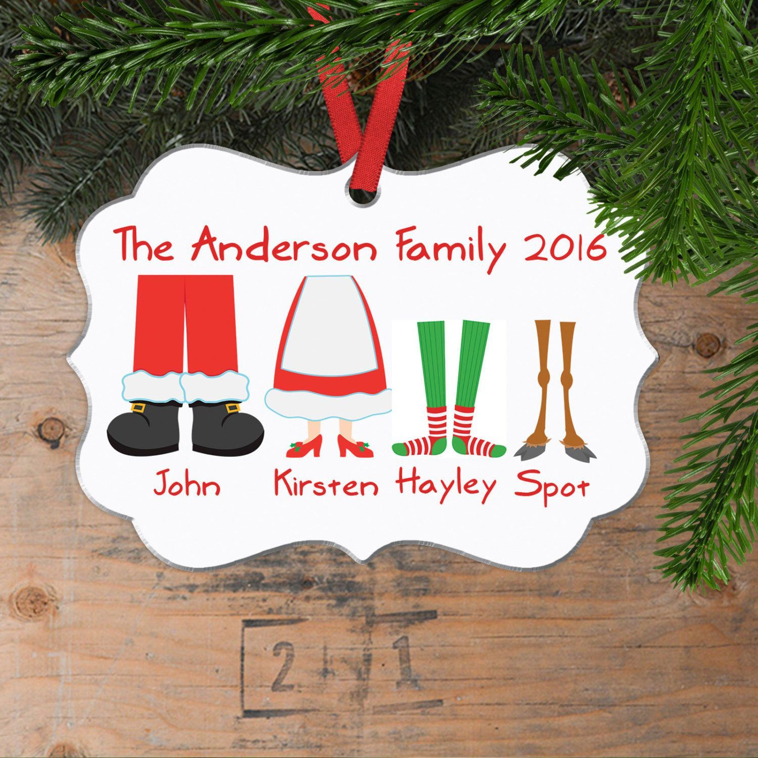 Personalized Family Christmas Ornament Family Christmas Gift Family Of 5 Elf Feet Round Ornament Family Christmas Gifts Personalized Christmas Ornaments Family Family Christmas Ornaments