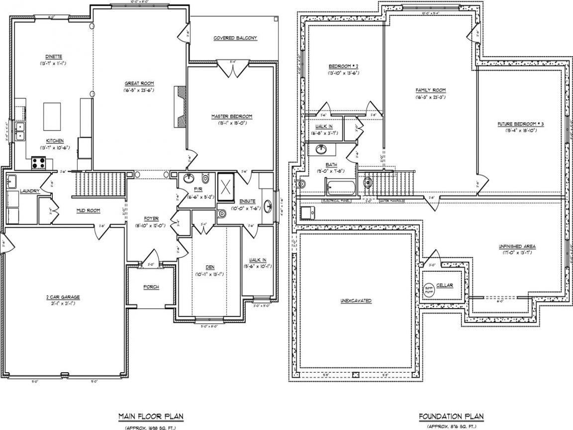 Art One Story Open Concept Floor Plans Single House With Daylight Basement Bedroom Denah Rumah Denah Lantai Rumah Denah Lantai