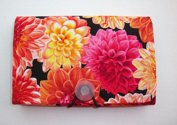 Coupon Organizer / holder /  keeper   Dahlia pink orange by Laa766  hand made / custom fabric patterns / designs for you, co-worker, friends / preppy / cute / personalized
