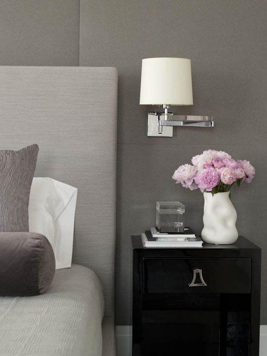 Suzie Weitzman Halpern Design - Gray bedroom with gray walls, gray