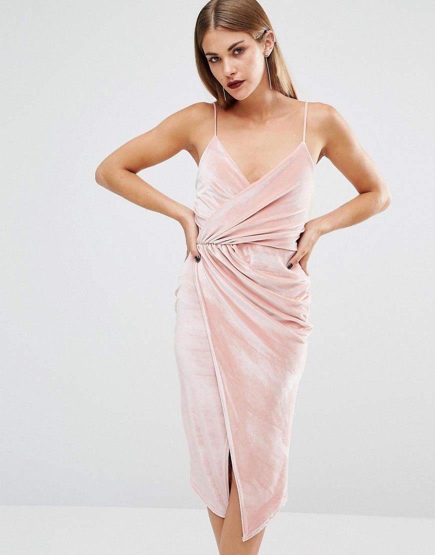 Pink slip dress outfit  Boohoo Velvet Strappy Wrap Midi Dress  Dresses  Pinterest  Midi