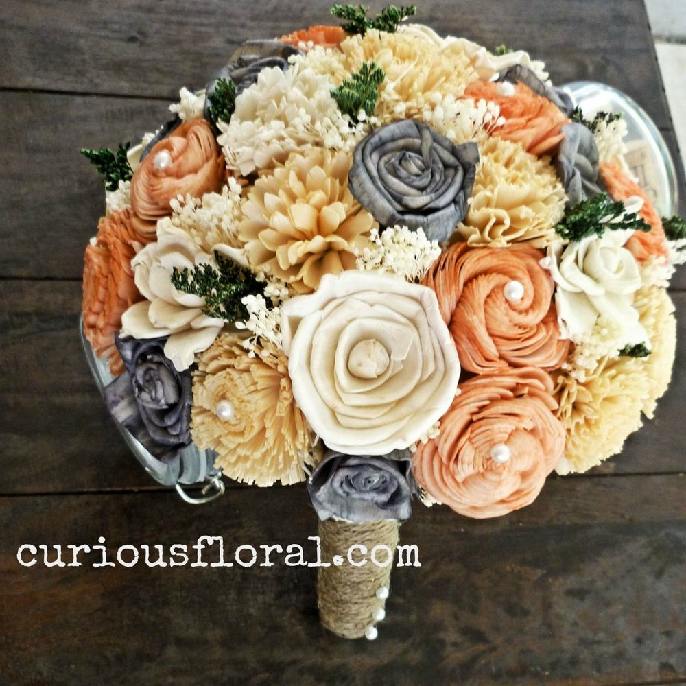 Image of Sola Flower Collection Bridal Bouquet- Peach Ivory Grey, Bridesmaid Bouquet