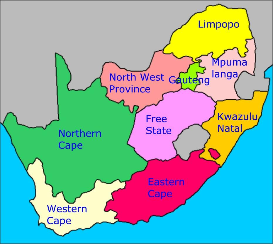 South Africa Provinces Map Map of South Africa's provinces | South africa map, Geography for