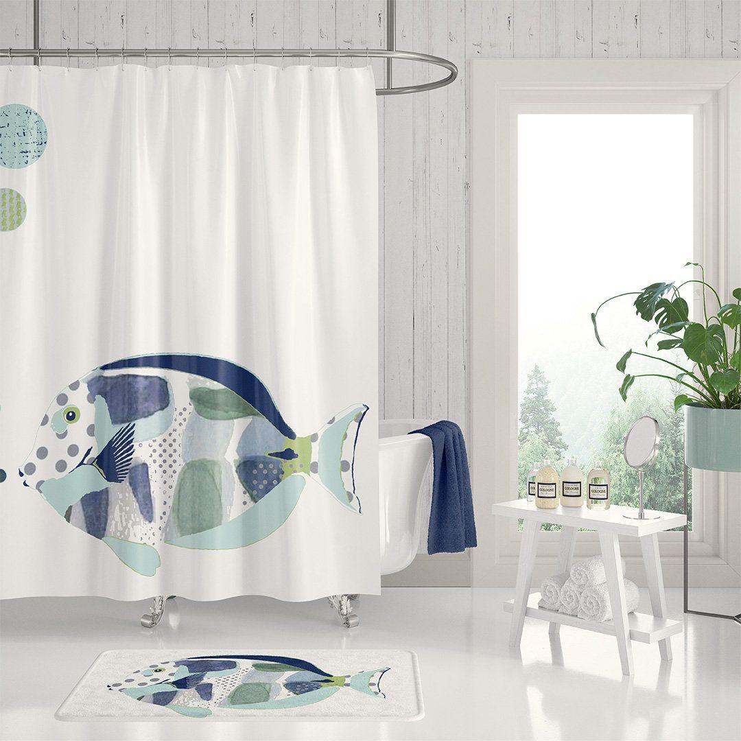 Ocean Sea Animals Shower Curtain Nautical Bathroom Decor Child
