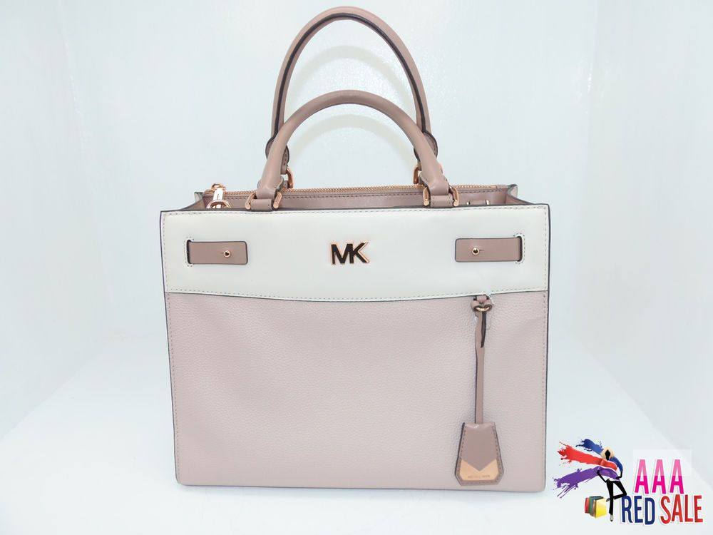 1486b160cabc ... france fashion nwt new michael kors handbag reagan bag large satchel  purse two tone color f49ab ...