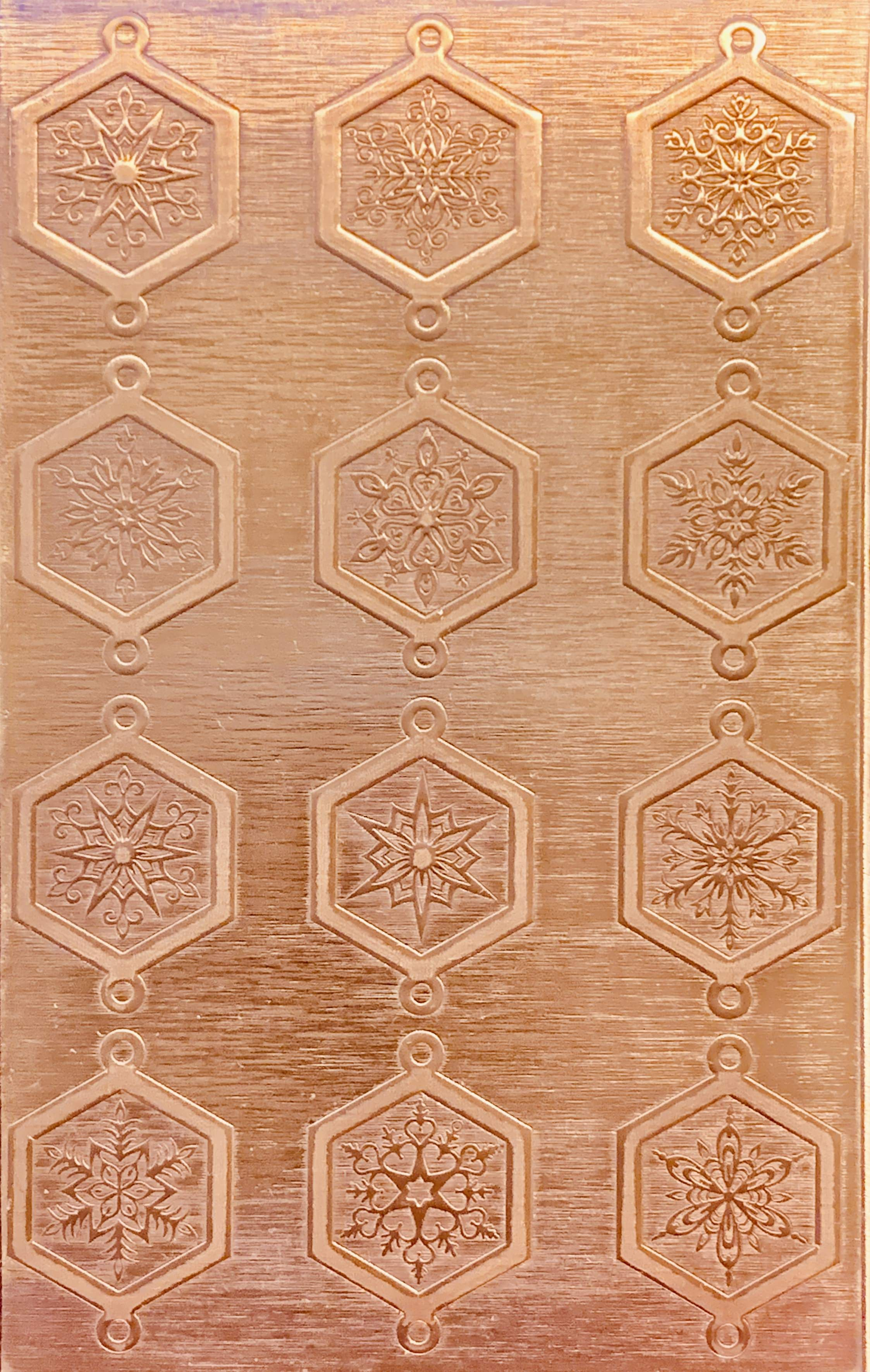 Fancy Octagonal Snowflake Links Copper Pattern Pressing 2 1 2 X 4 Copper Pattern Copper Sheets
