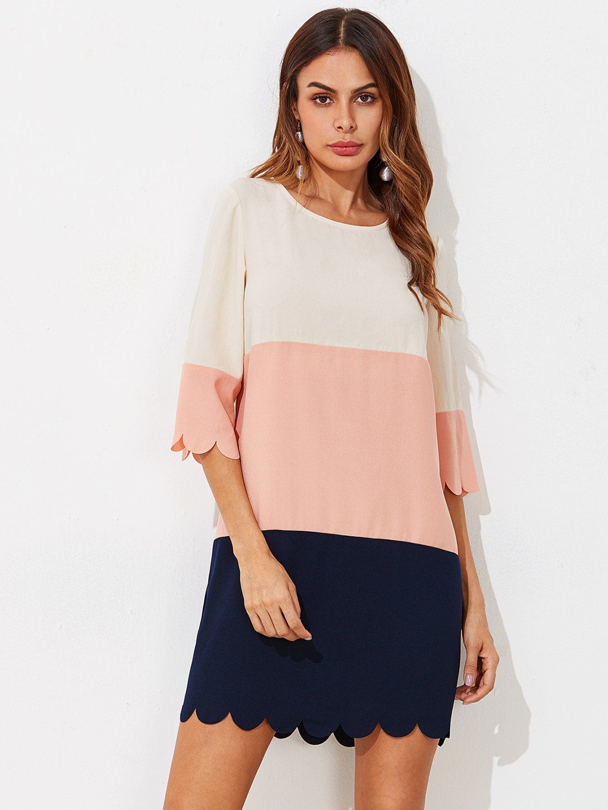 Cut and sew scalloped dress half sleeve dresses casual wear and