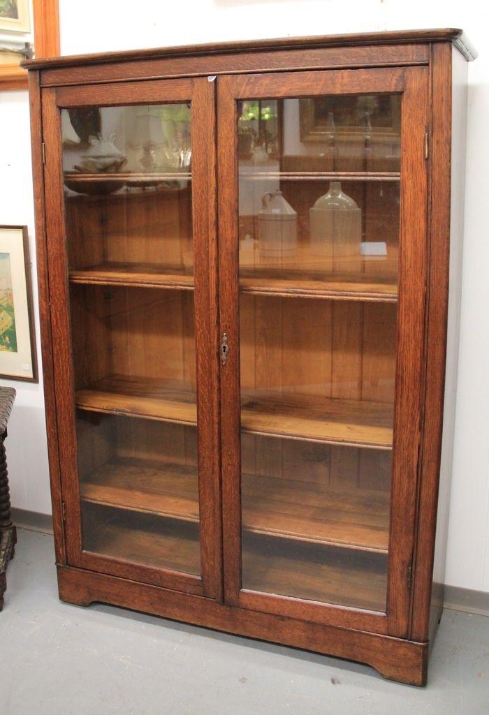 Wood Bookcase With Gl Doors Mission Oak Door