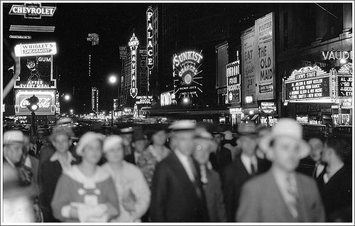 1930s times square black and white photo night sunksist coca cola flickr photo sharing