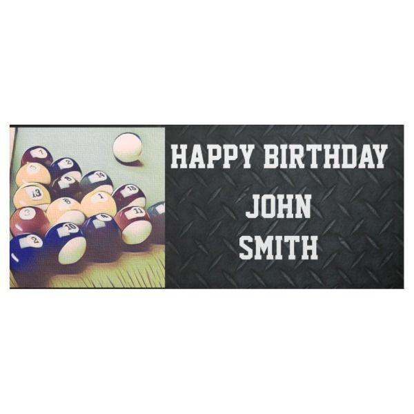 Happy Birthday Billiards Men's Banner