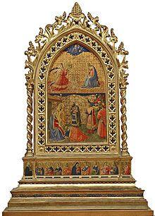 Fra Angelico -Quattro reliquiari della Vergine -I Quattro reliquiari della Vergine sono altrettanti pannelli dipinti su tavole cuspidate opera di fra Giovanni Masi su disegno di Beato Angelico, destinati al convento di Santa Maria Novella e datati al 1434.