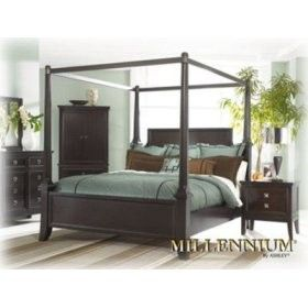 Martini Suite Four Poster Queen Bed with Canopy - Ashley Furniture :) FOUND IT!! This is my bed, side table and long dresser.