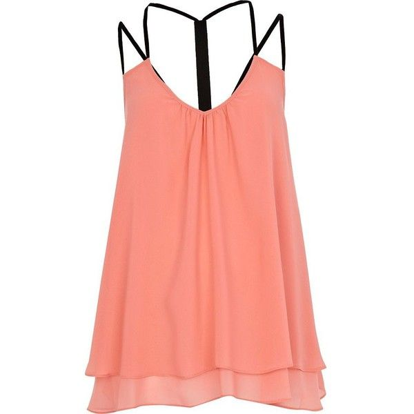 River Island Coral layered swing cami top (42 BRL) ❤ liked on Polyvore featuring tops, shirts, tank tops, blusas, tanks, red cami, coral shirt, cami tank, layering tanks and layering shirts