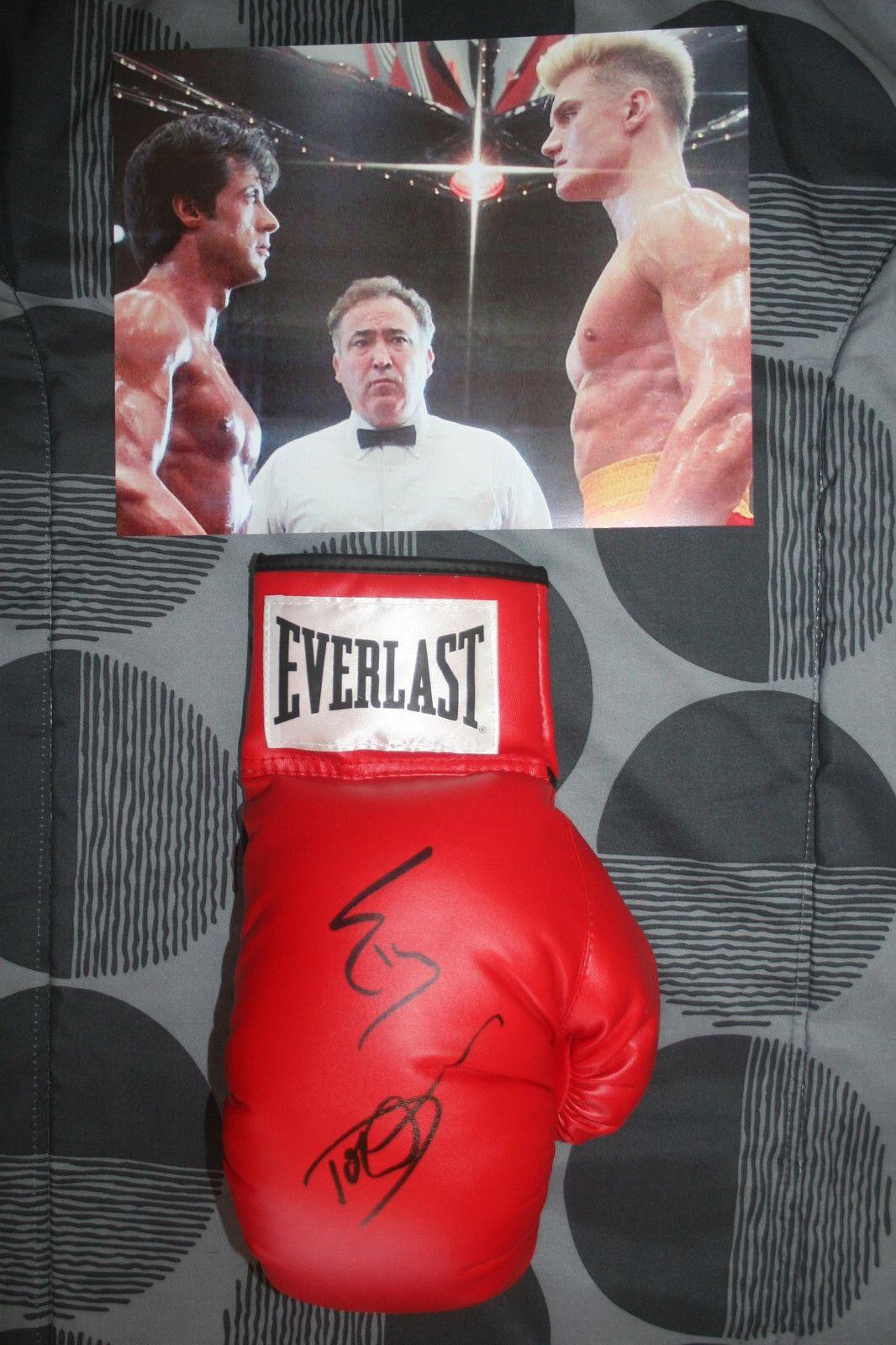 Male gloves ebay - Sylvester Stallone Dolph Lundgren Signed Everlast Boxing Glove Dc Coa Rockey Iv Ebay