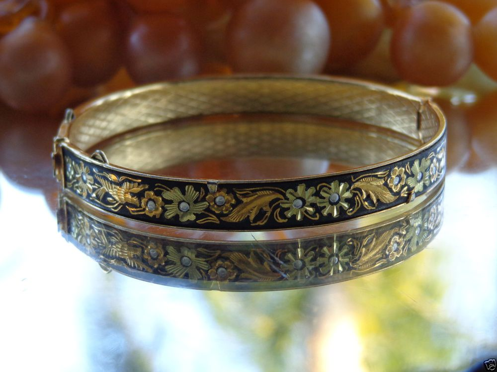 VTG MIDAS 24k Gold Damascene Damasquinado Bangle Bracelet TOLEDO