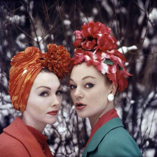 1950s models with floral hats     Ummm...I kinda love these:)