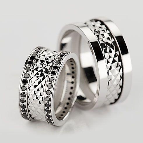Verighete Realizate Din Aur Alb Ce Au Diamante Negre Pret 14990