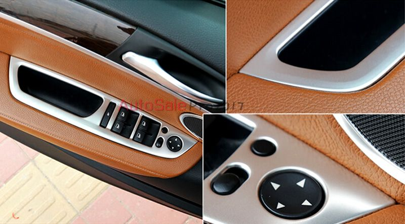 Stainless Steel Chromium Styling Interior Door Handle Holder Window Lift Switch Cover Trim 4pcs For Bmw X6 Bmw Interior Exterior Door Handles Bmw X6