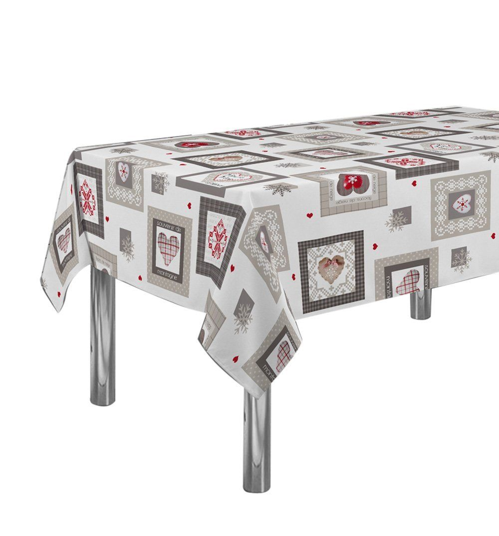 60 X 95 Inch Rectangular Tablecloth White And Grey Love And Hearts, Stain  Resistant