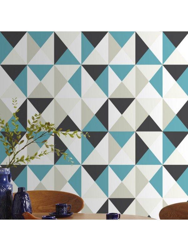 papier peint polygone bleu scandinave graham brown. Black Bedroom Furniture Sets. Home Design Ideas