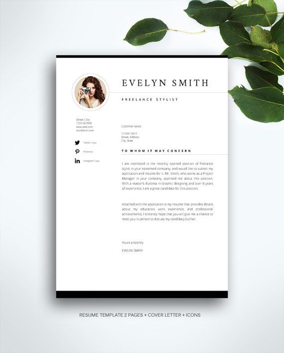 Resume Template 3 Page Cv Template Cover Letter Instant Download For Ms Word Evelyn Cv Template Cover Letter For Resume Resume