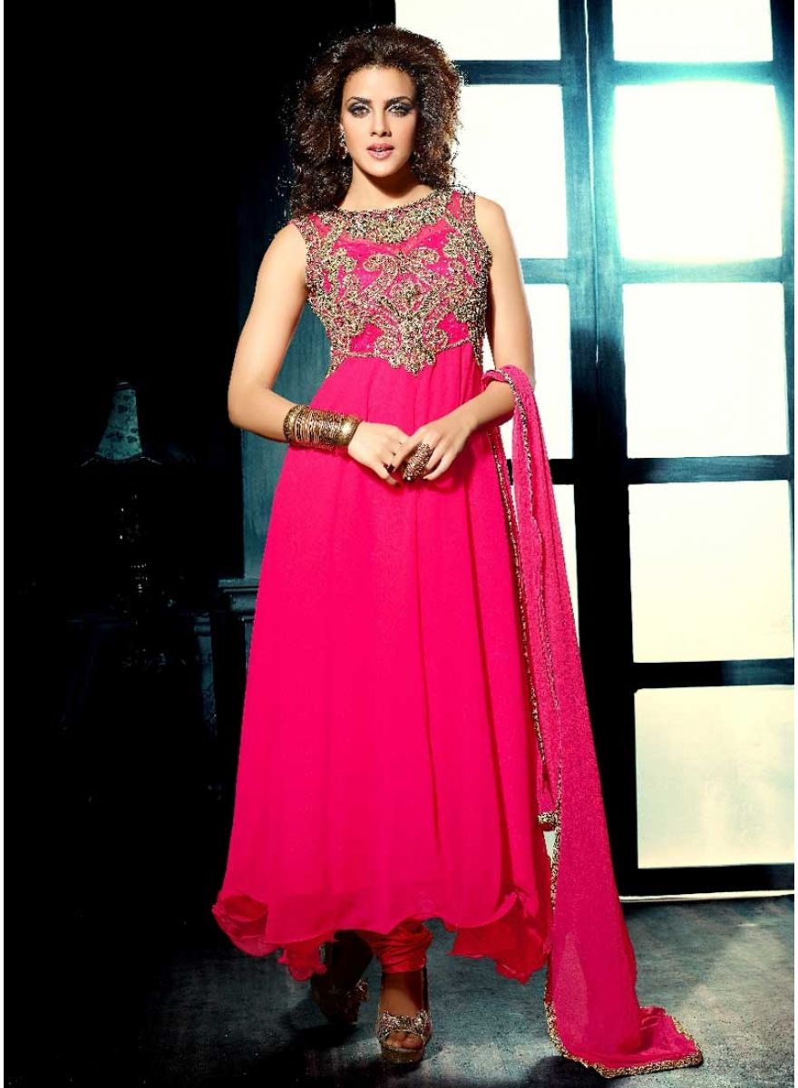 Perfect magenta faux georgette embroidery work anarkali suit see