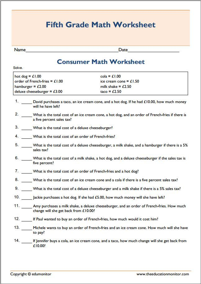 Basic printable consumer math worksheet | Fifth Grade Worksheets ...