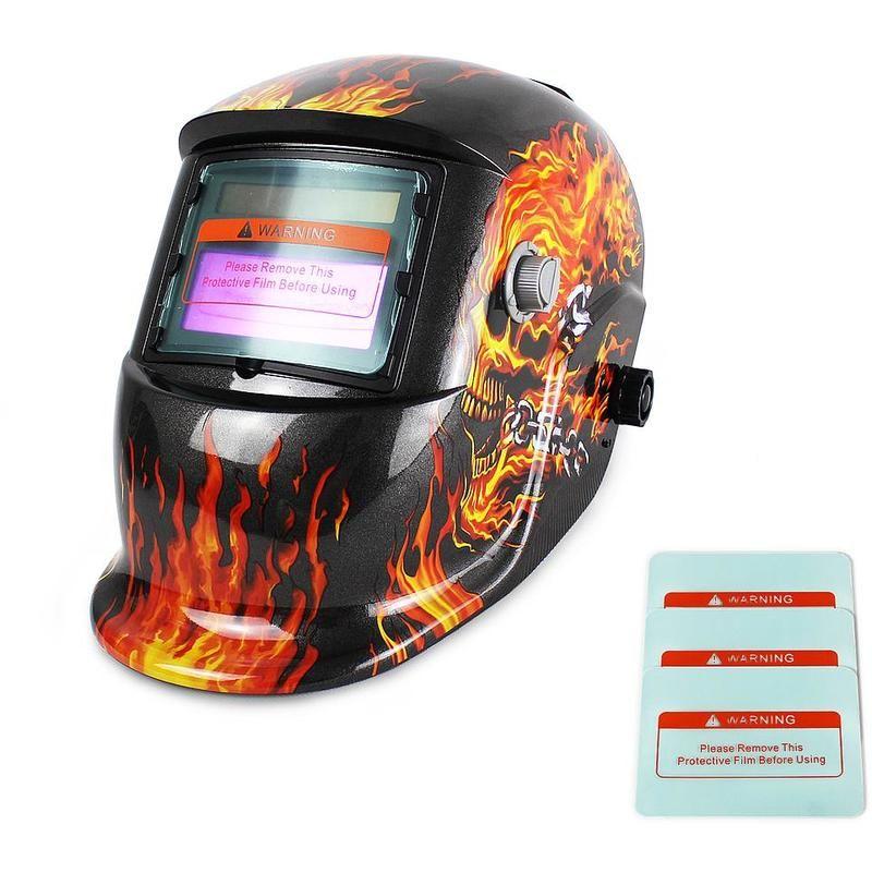 Motif feu Masque avec Assombrissement Automatique 3 lentilles supplémentaires