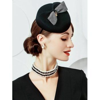 d2251063ae77f 2018 Vintage Floral Bowknot Decorated Formal Pillbox Hat BLACK In Hats  Online Store. Best Beach Hat For Sale