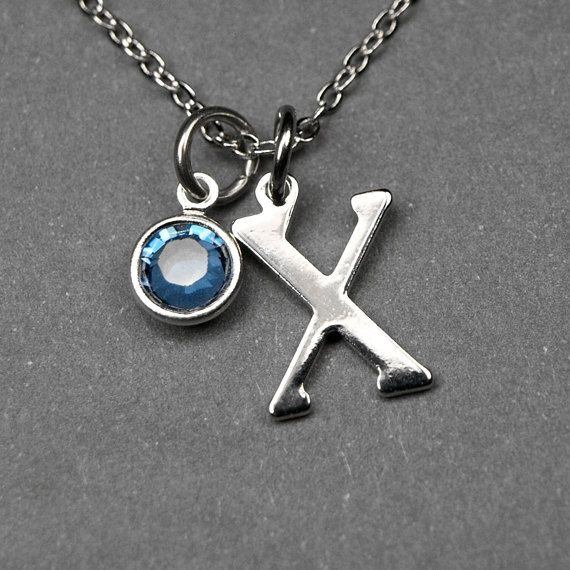Initial necklace, Birthstone initial necklace, initial birthstone, birthstone jewelry, personalized charm, bridesmaid gift, best friend gift by chrysdesignsjewelry on Etsy
