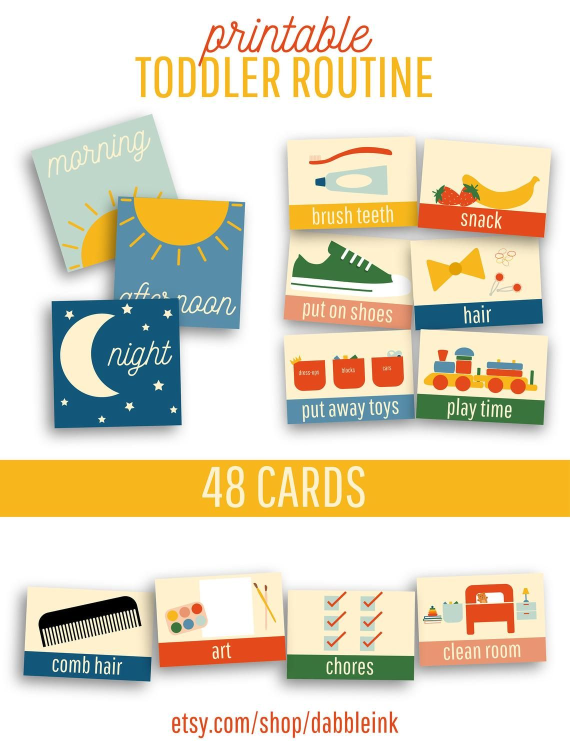 Toddler Routine I 48 Cards I Visual Routine I Daily