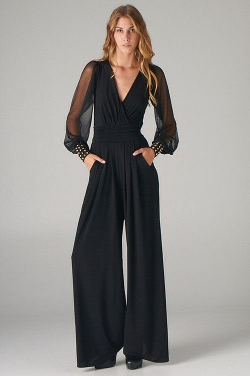 04f6d182eee9 Sexy jumpsuit with studded detail at cuffs