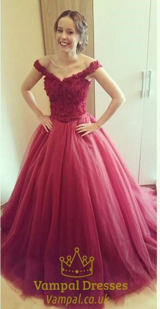 d67e8f7c80 Burgundy Off-The-Shoulder Lace Bodice Tulle Puffy Long Prom Dress SKU  -AP269