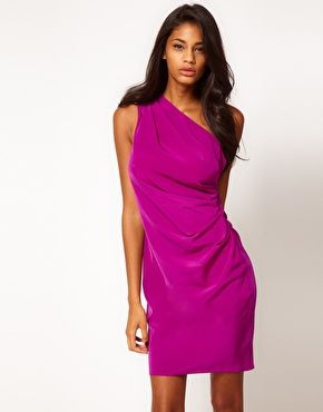ASOS One Shoulder Dress With Ruching