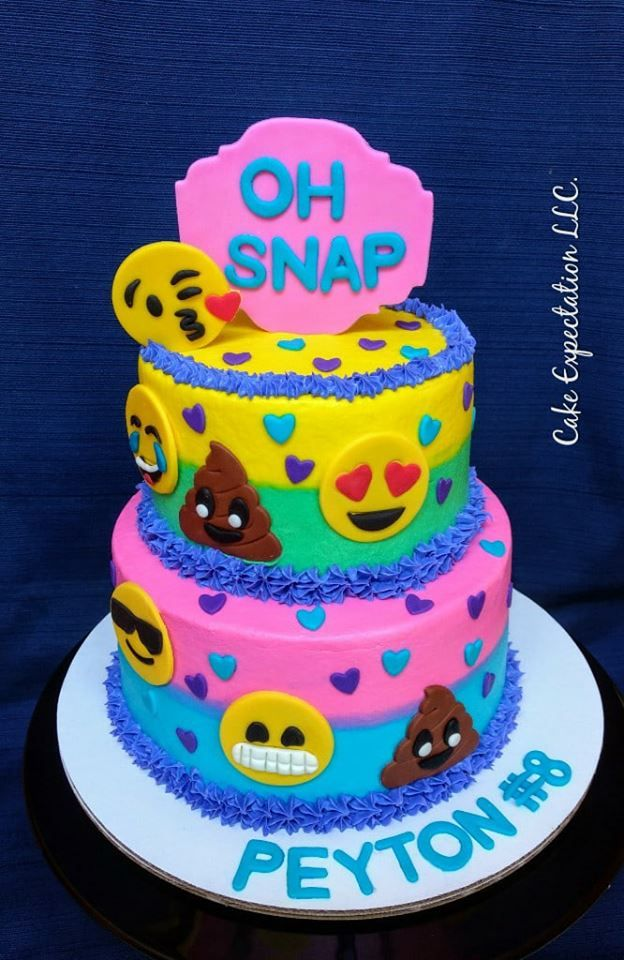 Emoji Themed Birthday Cake for Girl