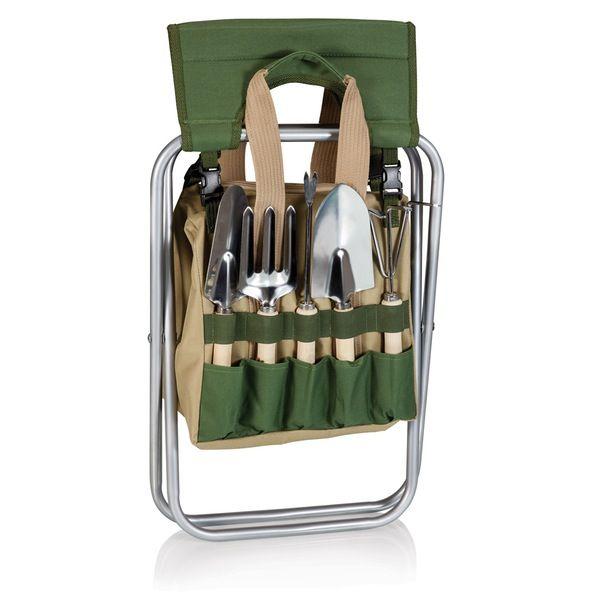 90ca0f723da2433bc097c5cb3343d523 - Picnic Time Gardener Folding Chair With Tools