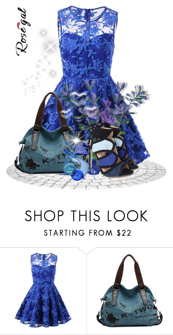 """""""II-Rosegal style 66"""" by merryyyyy-132 ❤ liked on Polyvore featuring Valentino, dress, sandals, bag and rosegal"""