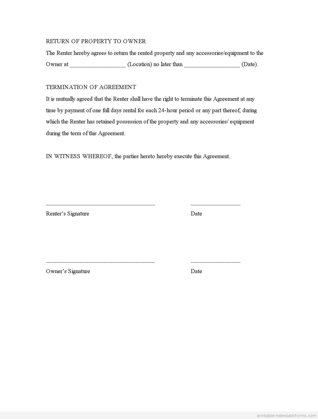 Sample Printable Rental Agreement Generic Form  Sample Real