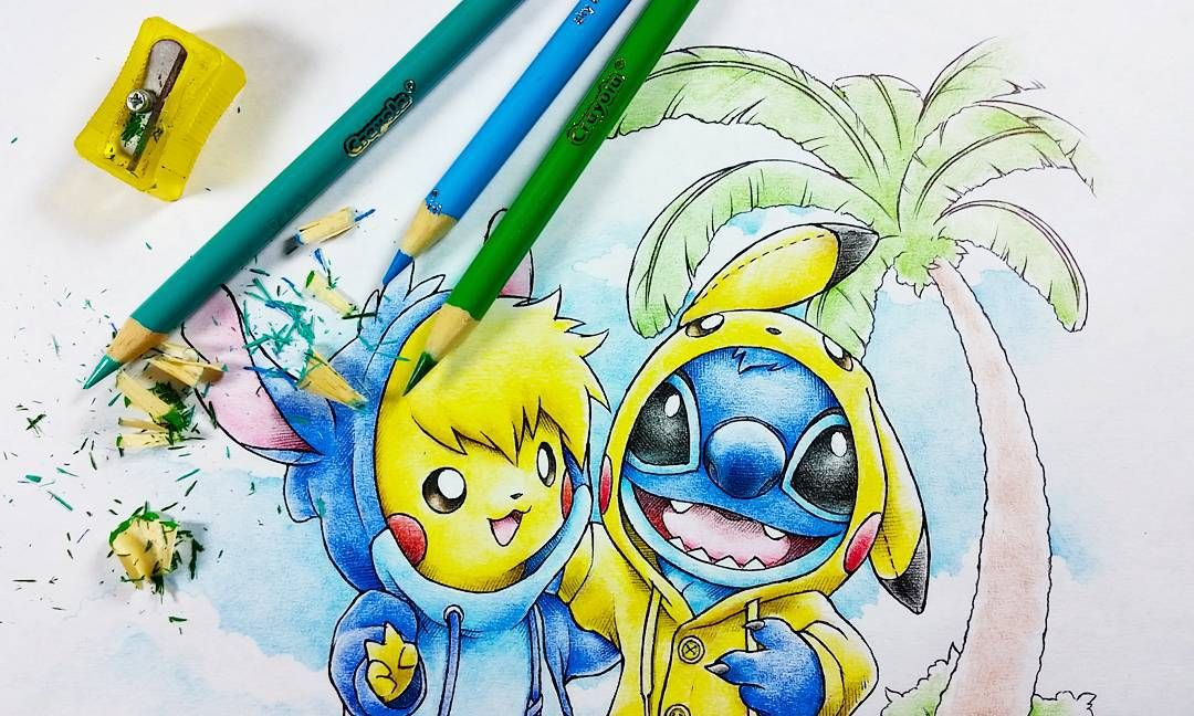Filling in a proper background for this drawing! I'll be updating my Etsy shop tonight with new prints including a limited amount of these dudes. #pikachu #stitch #onesie #crayola #illustration by itsbirdy