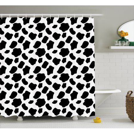 Cow Print Shower Curtain Cattle Skin Pattern With Scattered Spots Animal Hide Plain And Pasture Fabric Bathroom Set Hooks 69W X 84L Inches