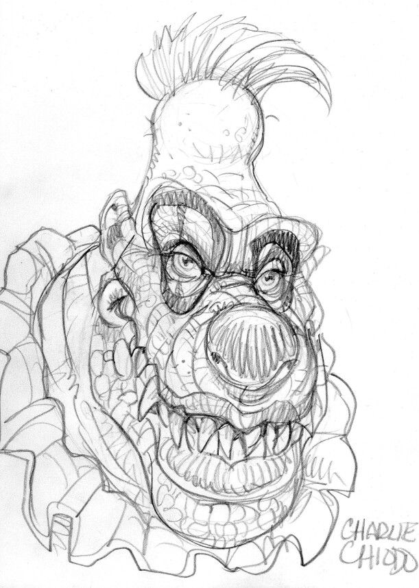 My Sketch Of Klownzilla Done By Non Other Then Charlie Chiodo At My Request At Creature Features Dino Gallery Dinog Pictures To Draw Outer Space Art Moody Art