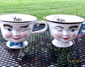 Vintage Pair of Baileys Irish Creme Winking Cups Man and Woman, Vintage Advertising, Barware, Holiday Cups, Serving, Teacups, Collectible