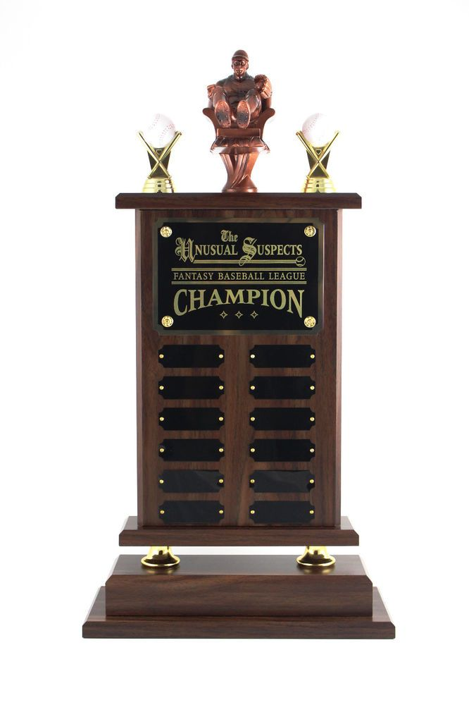 Fantasy Baseball Trophy 12 Year With Armchair Pitcher Free Engraving Ebay Fantasy Baseball Baseball Trophies Trophy