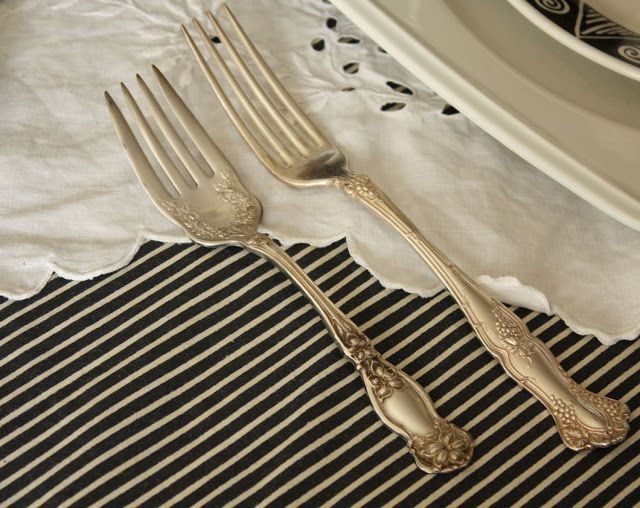 French Laundry: Black & White Spooky Tablescape Vintage Silver
