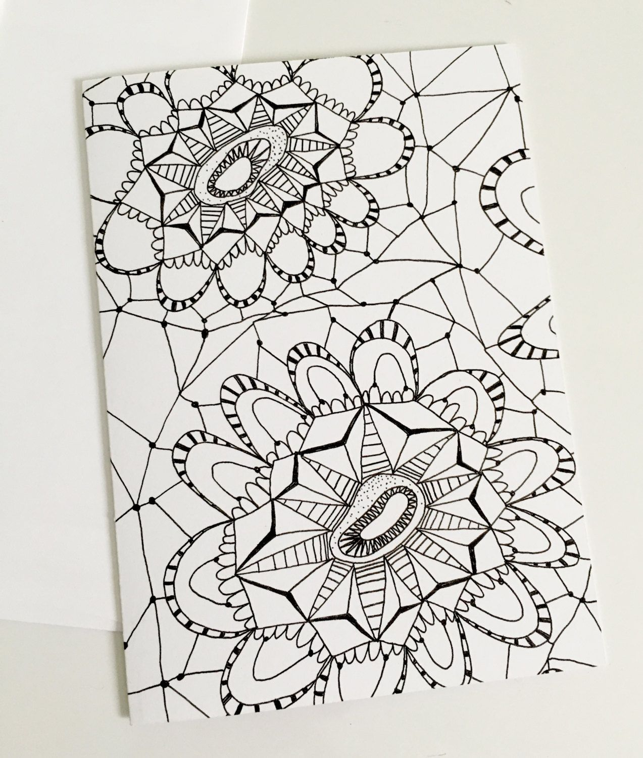 Coloring Book Pointy Stripe Mandala Zentangle Greeting Card For Adult Or All Ages Color