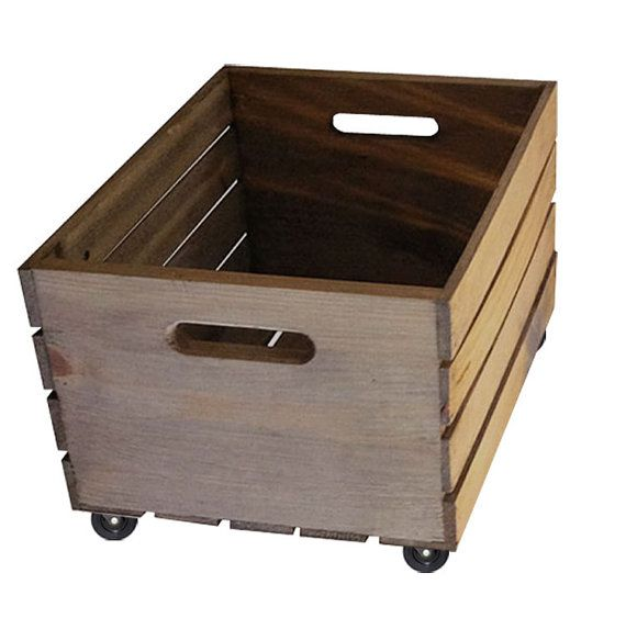 $48 Rustic Storage Crate On Wheels Home Decor   Wooden Crate With Casters  For Storing Blankets, Records, Magazines And More