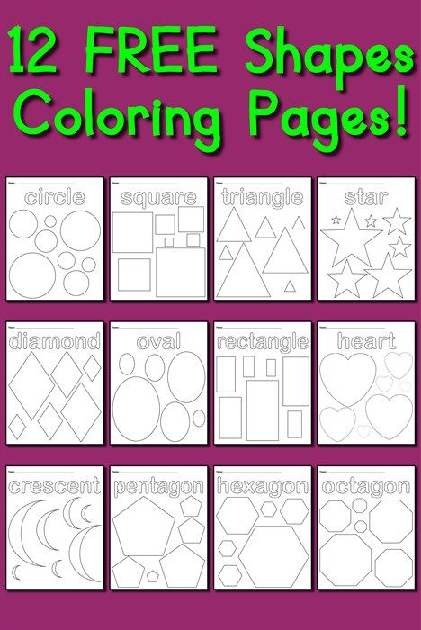 12 Shapes Coloring Pages | Printable shapes, Shapes and Maths