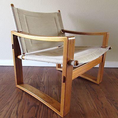 Danish Teak Safari Sling Chair Mid Century Modern Vintage 1960u0027s Lounge  Armchair